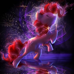 Size: 1280x1280 | Tagged: safe, artist:nicolaykoriagin, character:pinkie pie, species:earth pony, species:pony, abstract background, female, fireworks, mare, solo