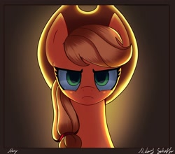 Size: 2500x2200 | Tagged: safe, artist:melanyschaffer, character:applejack, species:earth pony, species:pony, g4, backlighting, looking at you, simple background, solo