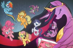 Size: 3662x2407 | Tagged: safe, artist:noupu, character:applejack, character:fluttershy, character:pinkie pie, character:rainbow dash, character:rarity, character:spike, character:twilight sparkle, species:pony, g4, mane six