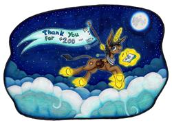 Size: 7016x5100 | Tagged: safe, artist:serenepony, oc, oc:serene tone, species:donkey, species:pony, species:unicorn, g4, banner, cloud, deviantart, drawing, hybrid, magic, moon, night, night sky, ring, sketch pad, solo, stars, thank you, traditional art, tube scarf