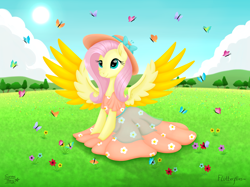 Size: 9920x7404 | Tagged: safe, artist:serenepony, character:fluttershy, species:pegasus, species:pony, butterfly, clothing, cloud, digital art, flower, grass, hat, sitting, solo, spread wings, sun, sundress, tree, wings