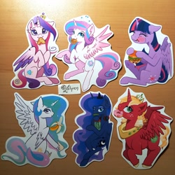 Size: 2048x2048 | Tagged: safe, artist:lailyren, character:big mcintosh, character:princess cadance, character:princess celestia, character:princess flurry heart, character:princess luna, character:twilight sparkle, character:twilight sparkle (alicorn), species:alicorn, species:pony, g4, banana, burger, donut, food, looking at you, muffin, photo, pickle, princess big mac, sticker, waffle
