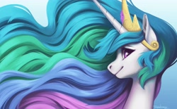 Size: 4096x2533 | Tagged: safe, artist:taytinabelle, character:princess celestia, species:alicorn, species:pony, g4, bust, solo, tiara