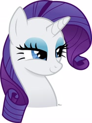 Size: 1918x2571 | Tagged: safe, artist:blitzyponeh, character:rarity, species:pony, species:unicorn, g4, bust, darling, lidded eyes, smug, solo, white background