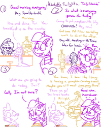 Size: 4779x6013 | Tagged: safe, artist:adorkabletwilightandfriends, character:lily, character:moondancer, character:spike, character:starlight glimmer, character:trixie, character:twilight sparkle, character:twilight sparkle (alicorn), species:alicorn, species:pony, comic:adorkable twilight and friends, adorkable, adorkable twilight, breakfast, clothing, comic, cute, daily life, date, dating, dork, family, food, friendship, glasses, hint, hinting, implied, kitchen, magic, maple syrup, pancakes, schedule, sitting, strawberry, sweater, tail, teasing, work