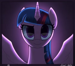 Size: 2500x2200 | Tagged: safe, artist:melanyschaffer, character:twilight sparkle, character:twilight sparkle (alicorn), species:alicorn, g4, backlighting, bust, looking at you, simple background, solo