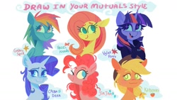 Size: 1457x820 | Tagged: safe, artist:astro_eden, character:applejack, character:fluttershy, character:pinkie pie, character:rainbow dash, character:rarity, character:twilight sparkle, g4, bust, challenge, cute, mane six, simple background