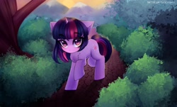 Size: 3000x1808 | Tagged: safe, artist:tatar.sauce, artist:tatatarsauce, character:twilight sparkle, character:twilight sparkle (unicorn), species:unicorn, g4, bush, forest, looking at you, raised hoof, scared, solo, trail, tree