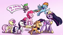 Size: 1919x1080 | Tagged: safe, artist:the-park, character:applejack, character:fluttershy, character:pinkie pie, character:rainbow dash, character:rarity, character:spike, character:twilight sparkle, species:pony, anniversary, flag, princess twilight 2.0, simple background