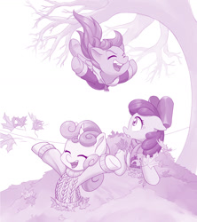 Size: 1280x1439 | Tagged: safe, artist:dstears, character:apple bloom, character:scootaloo, character:sweetie belle, autumn, leaves, monochrome