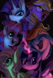 Size: 1471x2160 | Tagged: safe, artist:xfuq1vz3pb1gzv5, character:applejack, character:fluttershy, character:pinkie pie, character:rainbow dash, character:rarity, character:twilight sparkle, species:pony, g4, mane six
