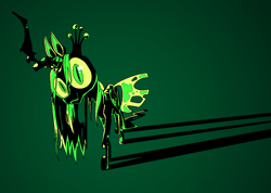 Size: 1313x934 | Tagged: safe, artist:batshaped, character:queen chrysalis, species:changeling, looking at you, shadow, solo