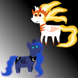 Size: 454x454 | Tagged: safe, artist:nitro indigo, character:daybreaker, character:princess celestia, character:princess luna, species:alicorn, species:pony, digital art, female, pointy ponies, role reversal, simple background