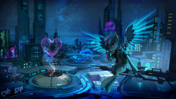 Size: 5760x3240 | Tagged: safe, artist:vitaj, oc, oc only, oc:atom smasher, oc:keyphrase, species:pegasus, species:pony, 20% cooler, amputee, augmented, back to the future, bird's eye view, bottle, car, cellphone, city, cityscape, clothing, commission, cutie mark, cyberpunk, cyborg, delorean, dome, female, fish, futuristic, headphones, heart, highway, hologram, holographic, hover car, jacket, looking at you, movie reference, multicolored mane, multicolored tail, neon, night, ocean, phone, prosthetic limb, prosthetic wing, prosthetics, road, scenery, science fiction, sign, skyline, skyscraper, snow, snowflake, soda, solo, space, sparkle cola, stars, window, wings
