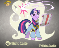 Size: 1280x1028 | Tagged: safe, artist:rhanite, character:twilight sparkle, character:twilight sparkle (unicorn), species:pony, species:unicorn, abstract background, anima banner, crossover, exalted, female, gray background, magic, mare, photoshop, scroll, simple background, solar exalted, solo
