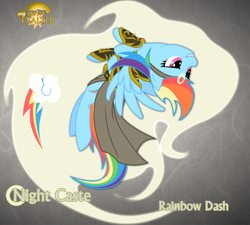 Size: 1280x1151 | Tagged: safe, artist:rhanite, character:rainbow dash, species:pegasus, species:pony, abstract background, anima banner, crossover, exalted, female, flying, gray background, mare, photoshop, simple background, solar exalted, solo