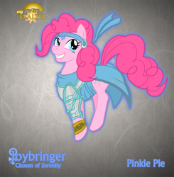 Size: 1255x1280 | Tagged: safe, artist:rhanite, character:pinkie pie, species:earth pony, species:pony, abstract background, chosen of serenity, clothing, crossover, exalted, female, gray background, mare, photoshop, sidereal exalted, simple background, solo