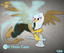 Size: 1280x1068 | Tagged: safe, artist:rhanite, character:gilda, species:griffon, abstract background, anima banner, axe, battle axe, crossover, exalted, female, lunar exalted, photoshop, solo, spread wings, weapon, wings