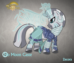 Size: 1280x1094 | Tagged: safe, artist:rhanite, character:zecora, species:zebra, g4, abstract background, anima banner, clothing, crossover, ear piercing, earring, exalted, female, jewelry, leg rings, lunar exalted, neck rings, photoshop, piercing, skirt, solo