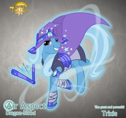 Size: 1280x1204 | Tagged: safe, artist:rhanite, character:trixie, species:pony, species:unicorn, abstract background, crossover, exalted, fan, female, gray background, magic, mare, photoshop, simple background, solo, telekinesis, terrestrial exalted