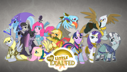 Size: 1920x1080 | Tagged: safe, artist:rhanite, character:applejack, character:derpy hooves, character:fluttershy, character:gilda, character:octavia melody, character:pinkie pie, character:rainbow dash, character:rarity, character:trixie, character:twilight sparkle, character:zecora, species:earth pony, species:griffon, species:pegasus, species:pony, species:unicorn, species:zebra, abstract background, axe, battle axe, crossover, ear piercing, earring, exalted, female, gray background, hoof hold, jewelry, leg rings, lunar exalted, mane six, mare, mouth hold, neck rings, photoshop, piercing, sidereal exalted, simple background, solar exalted, terrestrial exalted, wallpaper, weapon