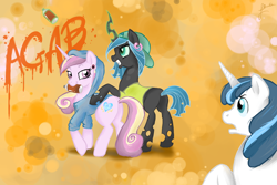 Size: 1500x1000   Tagged: dead source, safe, artist:elenaboosy, character:princess cadance, character:queen chrysalis, character:shining armor, species:alicorn, species:changeling, species:pony, species:unicorn, g4, changeling queen, clothing, cutie mark, ear piercing, earring, female, gangster, glowing horn, graffiti, hoodie, jewelry, magic, piercing, rebel, shocked, shocked expression, spray paint, teenager, telekinesis