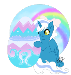 Size: 1439x1518 | Tagged: safe, artist:twinklecometyt, oc, oc:fleurbelle, species:alicorn, species:pony, alicorn oc, bow, easter, easter egg, female, hair bow, holiday, horn, mare, simple background, transparent background, wings, yellow eyes
