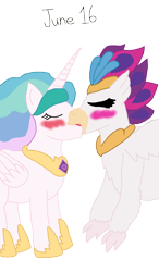 Size: 1118x1920   Tagged: safe, artist:horroraceman93, character:princess celestia, character:queen novo, species:alicorn, species:hippogriff, species:pony, ship:novolestia, my little pony: the movie (2017), blushing, eyes closed, female, french kiss, kissing, lesbian, shipping, simple background, tongue out, transparent background