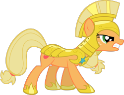 Size: 5193x4000 | Tagged: safe, artist:spaceponies, character:applejack, species:earth pony, species:pony, absurd resolution, female, mare, royal guard armor, simple background, solo, transparent background, war face