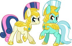 Size: 6225x4000 | Tagged: safe, artist:spaceponies, character:bon bon, character:lyra heartstrings, character:sweetie drops, species:earth pony, species:pony, species:unicorn, absurd resolution, angry, armor, duo, duo female, female, helmet, mare, royal guard armor, simple background, transparent background, war face