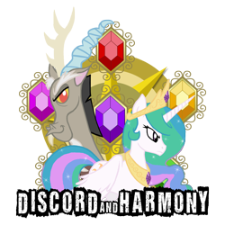 Size: 3300x3300 | Tagged: dead source, safe, artist:bronyfang, character:discord, character:princess celestia, species:alicorn, species:draconequus, species:pony, elements of harmony, female, high res, mare, photoshop, simple background, transparent background