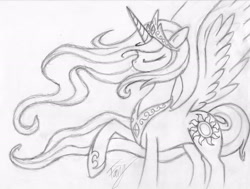 Size: 3116x2358 | Tagged: dead source, safe, artist:bronyfang, character:princess celestia, species:alicorn, species:pony, eyes closed, female, grayscale, high res, mare, monochrome, raised hoof, sketch, solo, spread wings, traditional art, wings