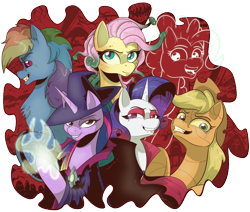 Size: 2426x2057 | Tagged: safe, artist:saturdaymorningproj, character:applejack, character:fluttershy, character:pinkie pie, character:rainbow dash, character:rarity, character:twilight sparkle, g4, costume, dryad, ghost, halloween, mane six, scarecrow, vampire, werewolf, witch