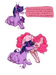 Size: 1536x2048 | Tagged: safe, artist:missusmousse, character:pinkie pie, character:twilight sparkle, species:alicorn, species:earth pony, species:pony, ship:twinkie, g4, blushing, dialogue, eyes closed, heart, kiss on the cheek, leonine tail, shipping