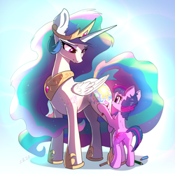 Size: 2395x2384 | Tagged: safe, artist:xbi, character:princess celestia, character:twilight sparkle, species:alicorn, species:pony, species:unicorn, colored pencils, cute, drawing, featured image, filly twilight sparkle, house, tree