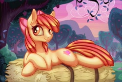 Size: 3000x2000   Tagged: safe, artist:eltaile, character:apple bloom, species:earth pony, species:pony, g4, apple tree, cute, cutie mark, hay, hay bale, lying down, solo