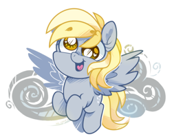 Size: 956x774 | Tagged: safe, artist:yokokinawa, character:derpy hooves, species:pegasus, species:pony, chibi, cute, smiling, solo