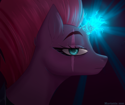 Size: 1584x1338 | Tagged: safe, artist:mariattie, character:tempest shadow, species:pony, species:unicorn, broken horn, ear fluff, eye scar, lightning, looking at you, magic, side view