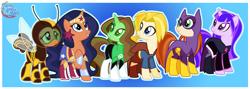 Size: 2963x1050 | Tagged: safe, artist:nsmah, species:pony, g4, batgirl, dc comics, dc superhero girls, dc universe, green lantern, ponified, supergirl, wonder woman