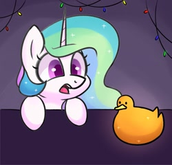 Size: 1303x1250 | Tagged: safe, artist:handgunboi, character:princess celestia, species:alicorn, species:pony, g4, bust, christmas lights, duck, hoofs on table, open mouth, surprised