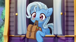 Size: 2840x1600 | Tagged: safe, artist:symbianl, character:trixie, species:pony, species:unicorn, episode:to where and back again, g4, my little pony: friendship is magic, blushing, cute, mouth hold, saddle bag, scene interpretation, to saddlebags and back again, trixie's wagon