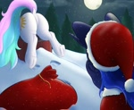 Size: 1280x1048 | Tagged: safe, artist:aquaticvibes, character:princess celestia, character:princess luna, species:alicorn, species:pony, g4, chimney, christmas, facehoof, full moon, pine tree, sack, santa costume, santa hat, snow, stuck