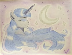 Size: 1280x982 | Tagged: safe, artist:lunazeta9, character:princess luna, species:alicorn, species:pony, colored pencil drawing, crescent moon, solo, stars, traditional art