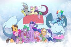 Size: 1280x862 | Tagged: safe, artist:chub-wub, artist:shimazun, character:applejack, character:cheese sandwich, character:discord, character:fluttershy, character:li'l cheese, character:luster dawn, character:pinkie pie, character:rainbow dash, character:rarity, character:spike, character:twilight sparkle, character:twilight sparkle (alicorn), species:pony, ship:discoshy, g4, collaboration, mane six, older applejack, older cheese sandwich, older fluttershy, older pinkie pie, older rainbow dash, older rarity, older spike, older twilight, winterchilla