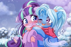 Size: 2400x1600 | Tagged: safe, artist:symbianl, character:starlight glimmer, character:trixie, ship:startrix, g4, babysitter trixie, blushing, clothing, complex background, fluffy, hug, scarf, shared scarf, smiling, snow