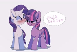 Size: 4049x2733   Tagged: safe, artist:lexiedraw, character:rarity, character:twilight sparkle, species:alicorn, species:pony, species:unicorn, ship:rarilight, g4, blushing, darling, dialogue, flirting, simple background, speech bubble, text