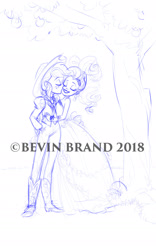 Size: 1200x1920 | Tagged: safe, artist:bevin brand, character:applejack, character:rarity, species:eqg human, ship:rarijack, g4, my little pony:equestria girls, kiss on the cheek, obtrusive watermark, official fan art, watermark, wedding, wedding dress