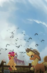 Size: 1024x1578 | Tagged: safe, artist:hierozaki, character:apple bloom, character:applejack, species:earth pony, species:pony, g4, applejack's hat, barn, bird, bucket, farm, fence