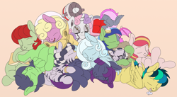 Size: 1542x844 | Tagged: safe, artist:manifest harmony, character:sweetie belle, oc, oc:anon, oc:apogee, oc:aurora sweetheart, oc:filly anon, oc:heartbeat, oc:nyx, oc:puppysmiles, oc:pythia, oc:scotch tape, oc:snowdrop, oc:sunny meadows, oc:zala, species:alicorn, species:earth pony, species:pegasus, species:pony, species:unicorn, species:zebra, fallout equestria, fallout equestria: project horizons, fanfic:fallout equestria, fanfic:fallout equestria: homelands, fanfic:fallout equestria: pink eyes, fanfic:past, fanfic:the keepers of discord, sweetie bot, g4, cuddle puddle, cuddling, cute, diasweetes, drool, drool that looks like cum, fanfic art, female, filly, nibbling, not cum, pink background, pony pile, robot, simple background, sleeping, weapons-grade cute