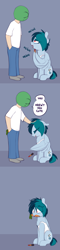 Size: 926x3858 | Tagged: safe, artist:shinodage, oc, oc only, oc:anon, oc:delta vee, species:human, species:pegasus, species:pony, g4, bedroom eyes, carrot, chest fluff, clothing, comic, confused, cute, dialogue, diaveetes, duo, eyeshadow, female, floppy ears, food, frown, gray background, hair over one eye, hands in pockets, head pat, horse noises, human male, language barrier, lipstick, looking up, lost in translation, makeup, male, mare, messy mane, misunderstanding, mouth hold, neigh, pat, petting, she wants the d, simple background, sitting, speech bubble, surprised, tank top, wide eyes, wing hands, wing hold